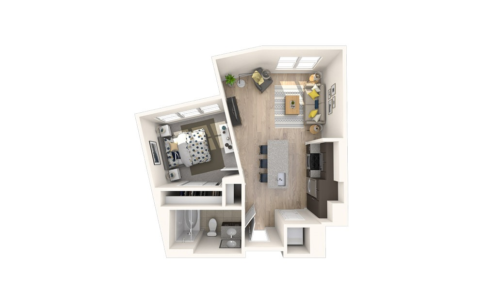 A1 - 1 bedroom floorplan layout with 1 bath and 598 square feet.