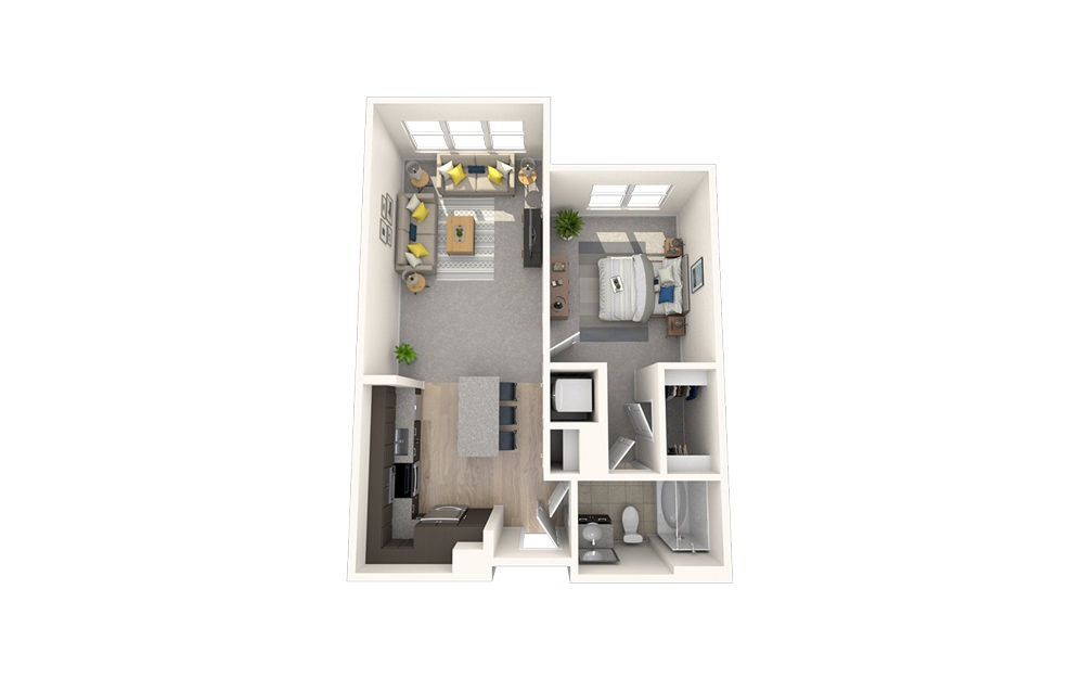 A10 - 1 bedroom floorplan layout with 1 bath and 712 square feet.