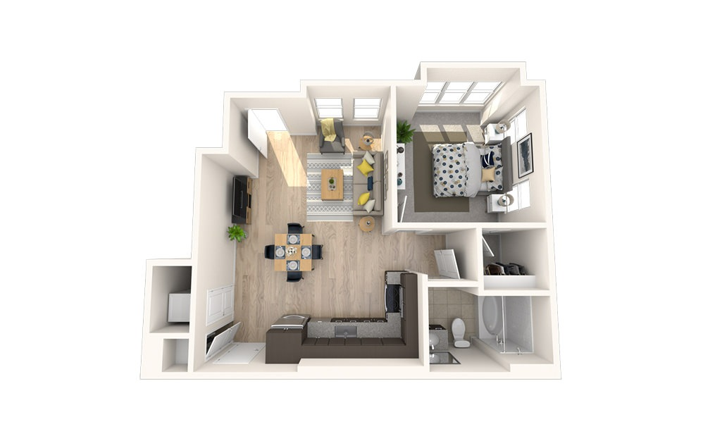 A11 - 1 bedroom floorplan layout with 1 bath and 716 square feet.
