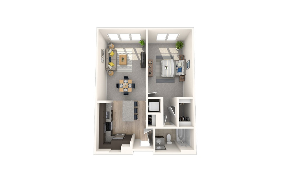 A12 - 1 bedroom floorplan layout with 1 bath and 770 square feet.