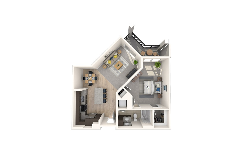 A13 - 1 bedroom floorplan layout with 1 bath and 789 square feet.