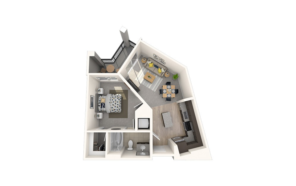 A2 - 1 bedroom floorplan layout with 1 bath and 634 square feet.
