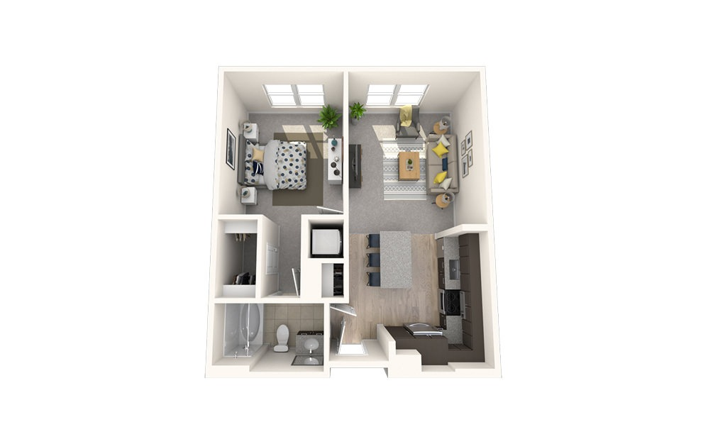 A4 - 1 bedroom floorplan layout with 1 bath and 651 square feet.