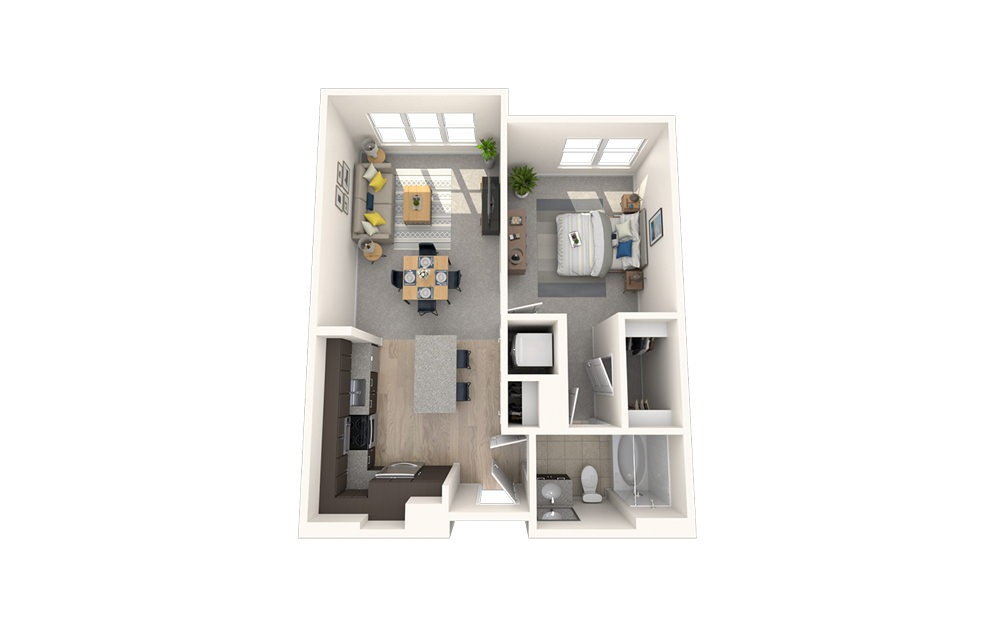 A5 - 1 bedroom floorplan layout with 1 bath and 677 square feet.