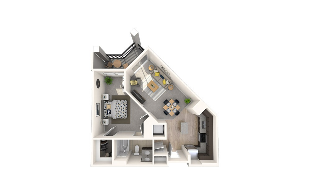 A6 - 1 bedroom floorplan layout with 1 bath and 678 square feet.