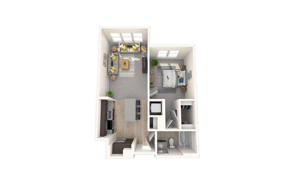 A7 - 1 bedroom floorplan layout with 1 bath and 700 square feet.