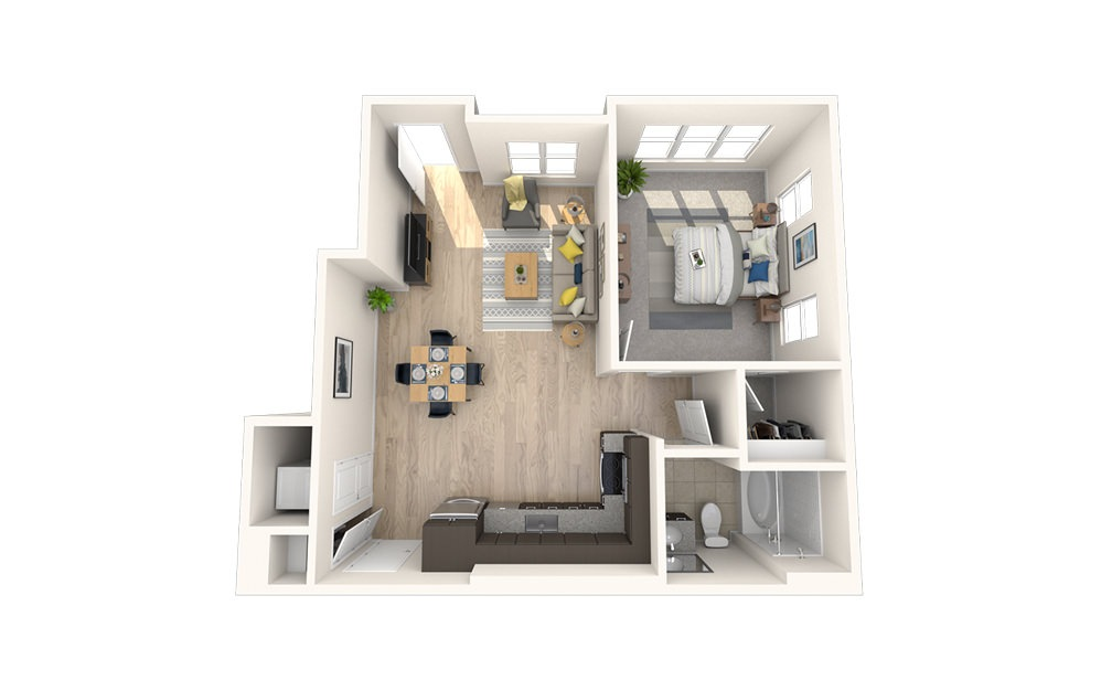 A8 - 1 bedroom floorplan layout with 1 bath and 707 square feet.