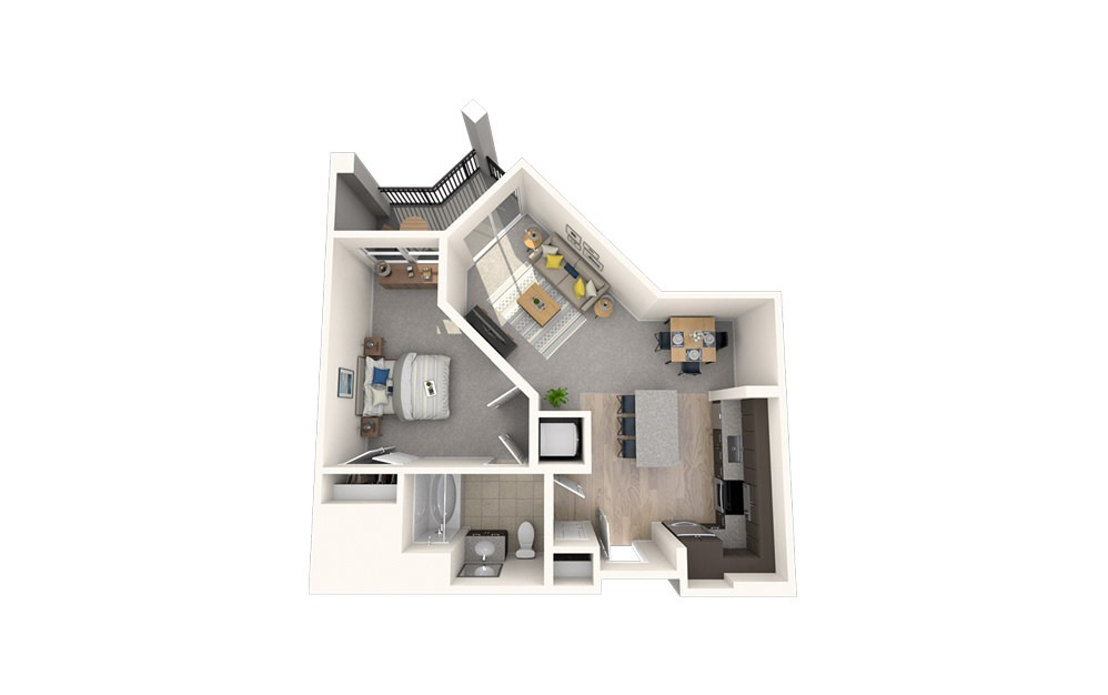 A9 - 1 bedroom floorplan layout with 1 bath and 710 square feet.