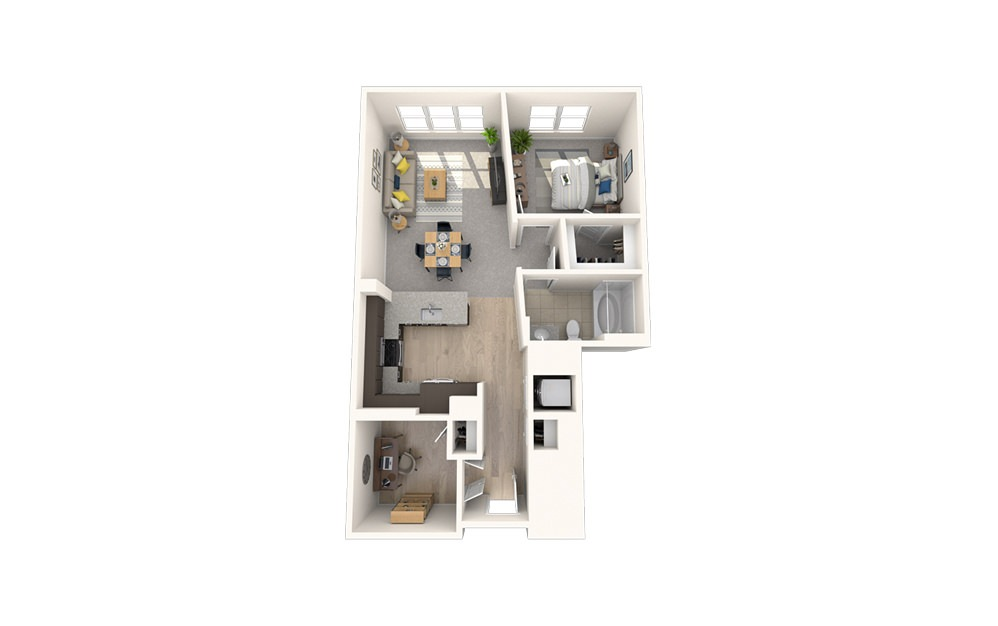 AD1 - 1 bedroom floorplan layout with 1 bath and 787 square feet.