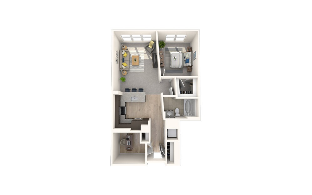 AD2 - 1 bedroom floorplan layout with 1 bath and 824 square feet.