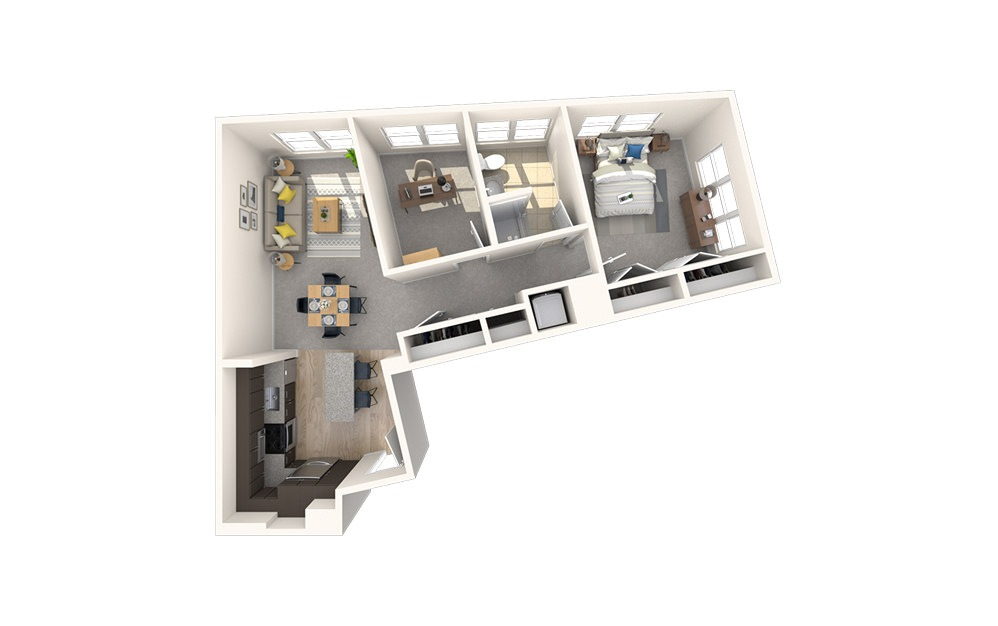 AD3 - 1 bedroom floorplan layout with 1 bath and 849 square feet.