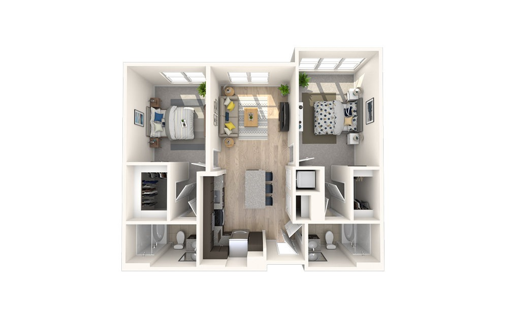 B1 - 2 bedroom floorplan layout with 2 baths and 947 square feet.