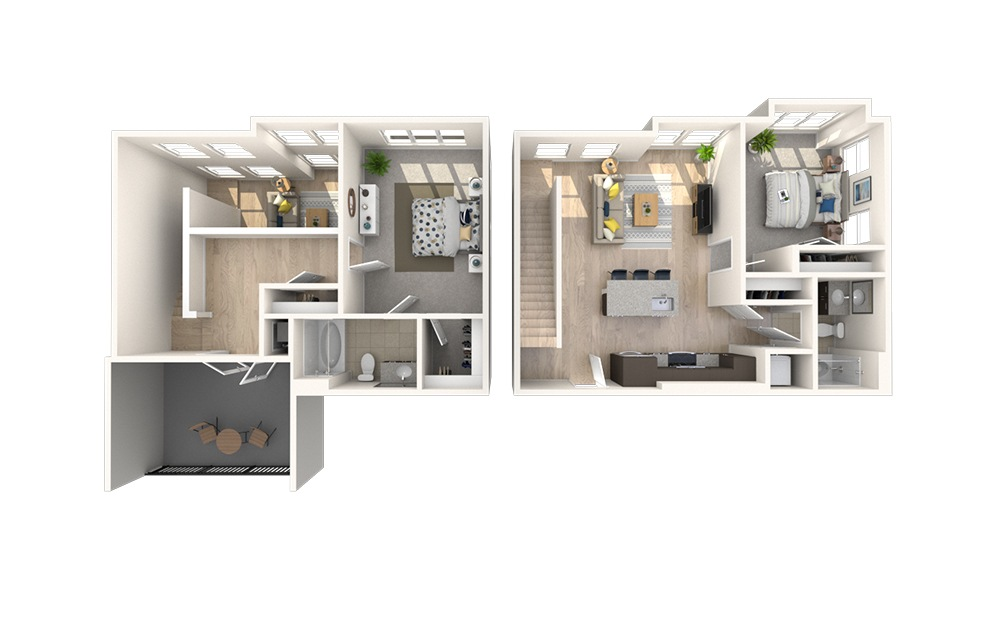 B10 - 2 bedroom floorplan layout with 2 baths and 1385 square feet.