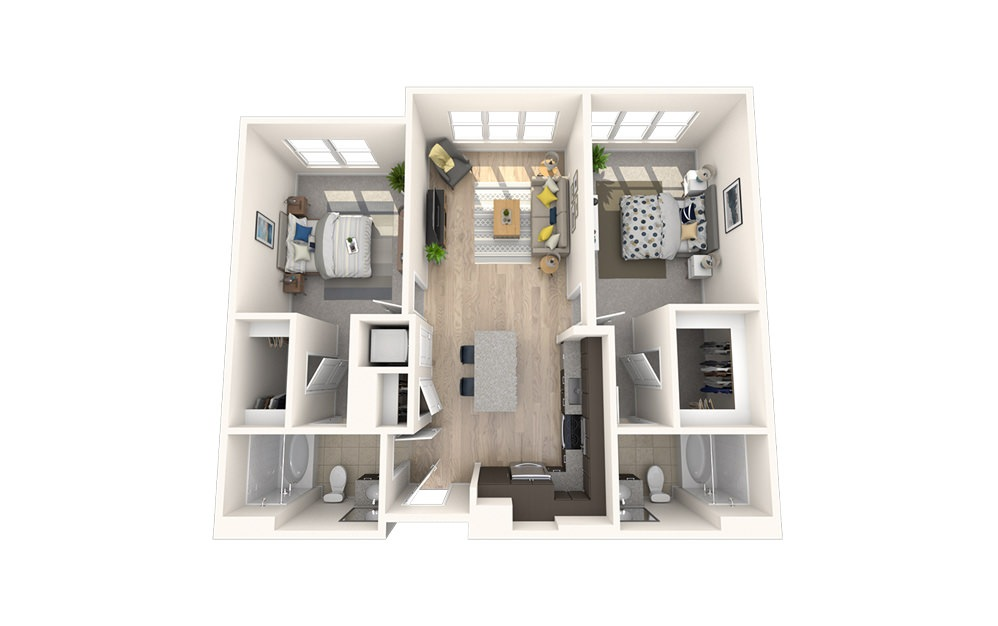 B2 - 2 bedroom floorplan layout with 2 baths and 971 square feet.