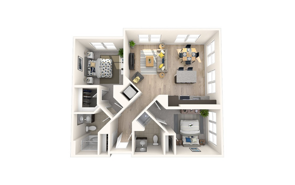 B4 - 2 bedroom floorplan layout with 2 baths and 986 square feet.