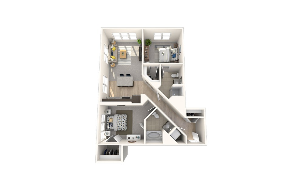 B5 - 2 bedroom floorplan layout with 2 baths and 996 square feet.
