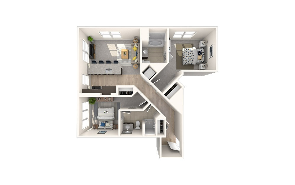 B6 - 2 bedroom floorplan layout with 2 baths and 1000 square feet.