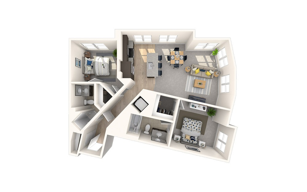 B7 - 2 bedroom floorplan layout with 2 baths and 1039 square feet.