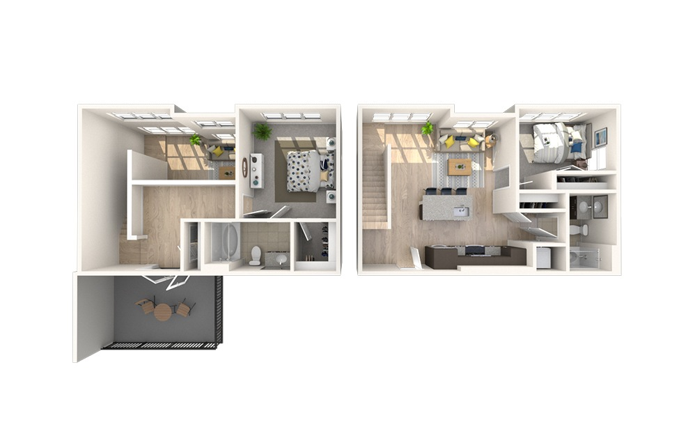 B8 - 2 bedroom floorplan layout with 2 baths and 1321 square feet.