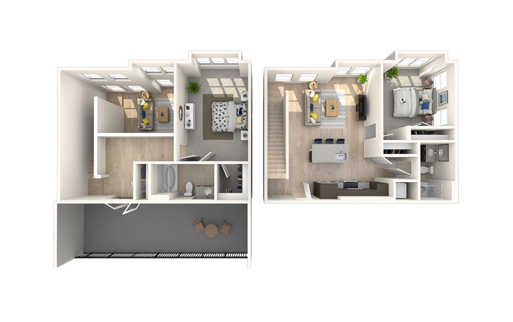 B9 - 2 bedroom floorplan layout with 2 baths and 1340 square feet.
