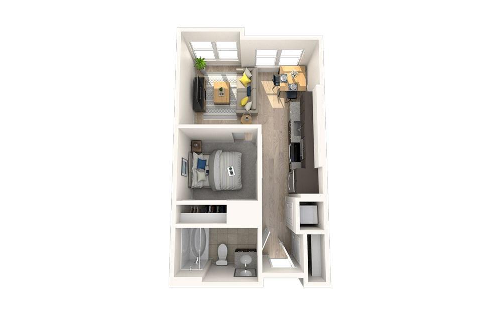 S1 - Studio floorplan layout with 1 bath and 495 square feet.