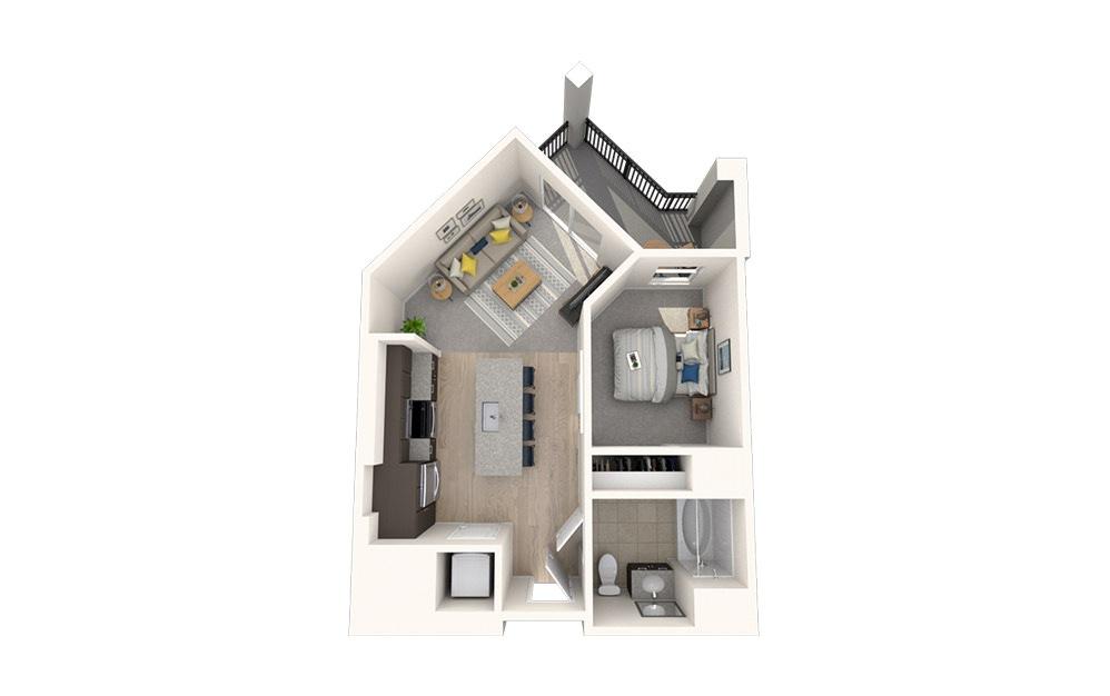 S2 - Studio floorplan layout with 1 bath and 554 square feet.